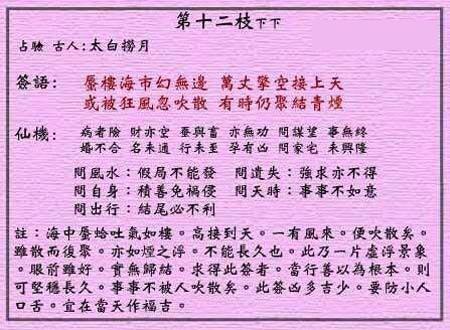 黄大仙灵签 第十二签:下下签 太白捞月