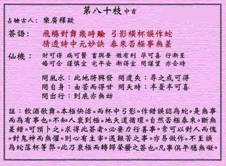 黄大仙灵签 第八十签:中吉签 乐广释疑中