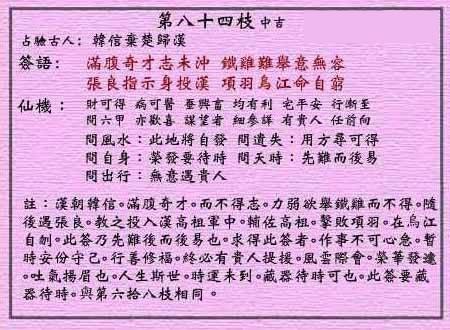 黄大仙灵签 第八十四签:中吉签 韩信弃楚归汉